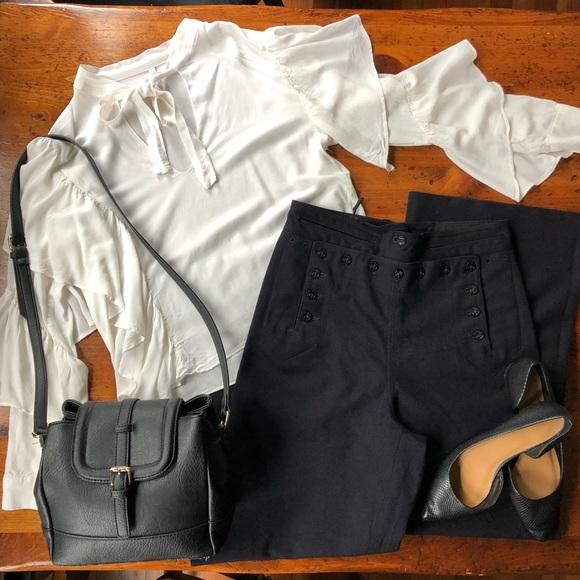 Zara Tops - Zara Ecru High Tie-up Neck Ruffled Crop Blouse